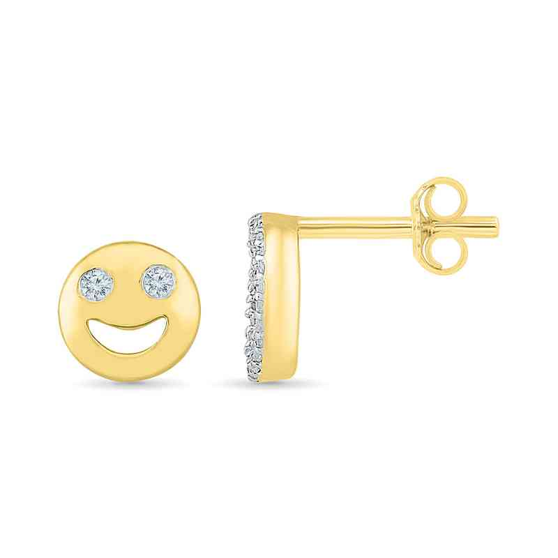 21503a2c812ad Diamond Accent Smile Circle Stud Earrings in Gold Flash-Plated Sterling  Silver