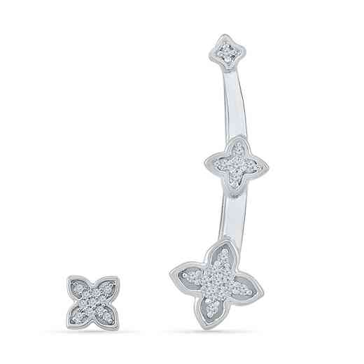 EQ202968BAW: DIA ACCNT DIA FLOWER CLIMBER EARRINGS