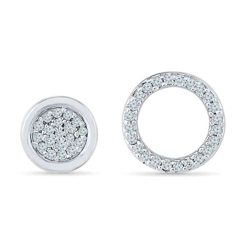 EW079845BAW: 1/10CTTW DIA ACCNT  DOUBLE CIRCLE EARRINGS