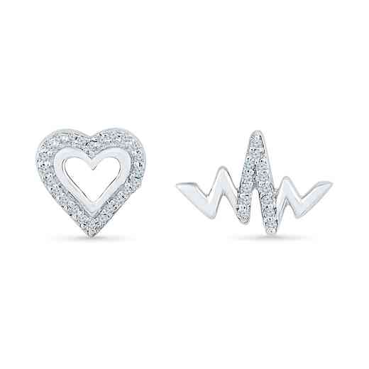 EH079848BAW: DIA ACCNT HEART AND HEART BEAT STUD EARRINGS