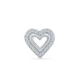 MH080579AAW: DIA ACCNT HEART SINGLE EARRING