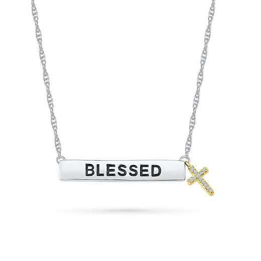 NF078920AXY: DIA ACCNT BLESSED CROSS BAR NECKLACE