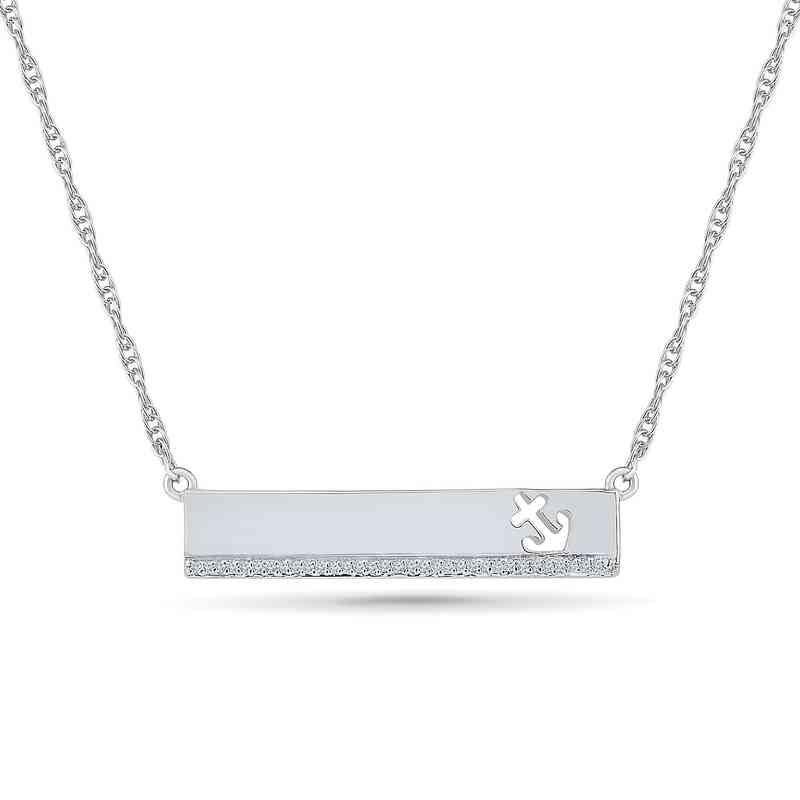 bbdece326ff3b Diamond Accent Strength Anchor Bar Necklace in Sterling Silver