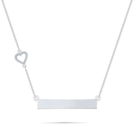 NH079695AAW: DIA ACCNT HEART LOVE BAR NECKLACE