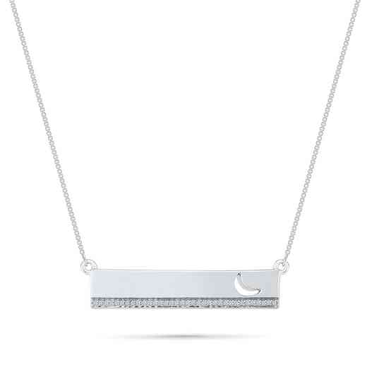 NQ079698BAW: DIA ACCNT MOON DREAM BAR NECKLACE
