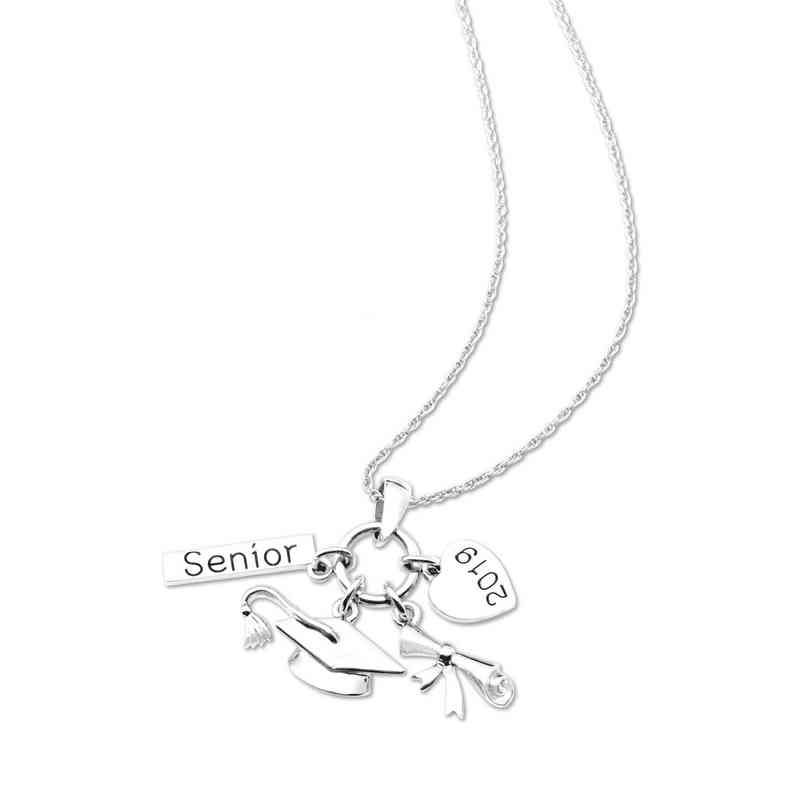 "Other Grad Product: 2019 Charm Necklace on white metal 18"" chain necklace"