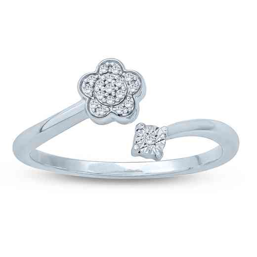 1/20 CT. Round Diamond Floral Fashion Ring In Sterling Silver.