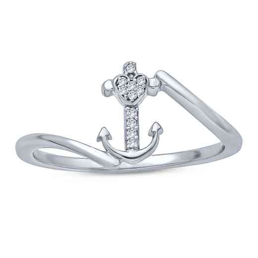 1/20 CT. Round Diamond Anchor Fashion Ring In Sterling Silver.