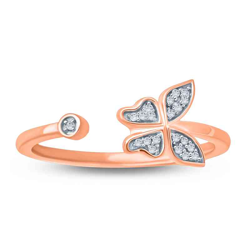Diamond Accent Round Butterfly Fashion Ring In Rose Plated Sterling Silver.