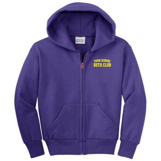 Beta Club Embroidered Youth Full Zip Hooded Sweatshirt