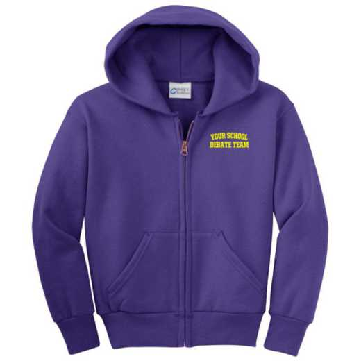 Debate Team Embroidered Youth Full Zip Hooded Sweatshirt
