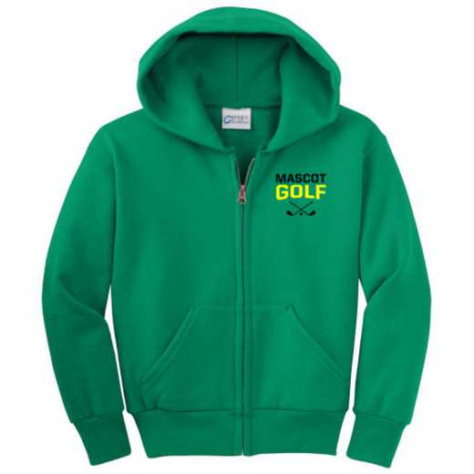 Golf Embroidered Youth Full Zip Hooded Sweatshirt
