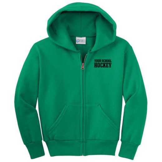 Hockey Embroidered Youth Full Zip Hooded Sweatshirt