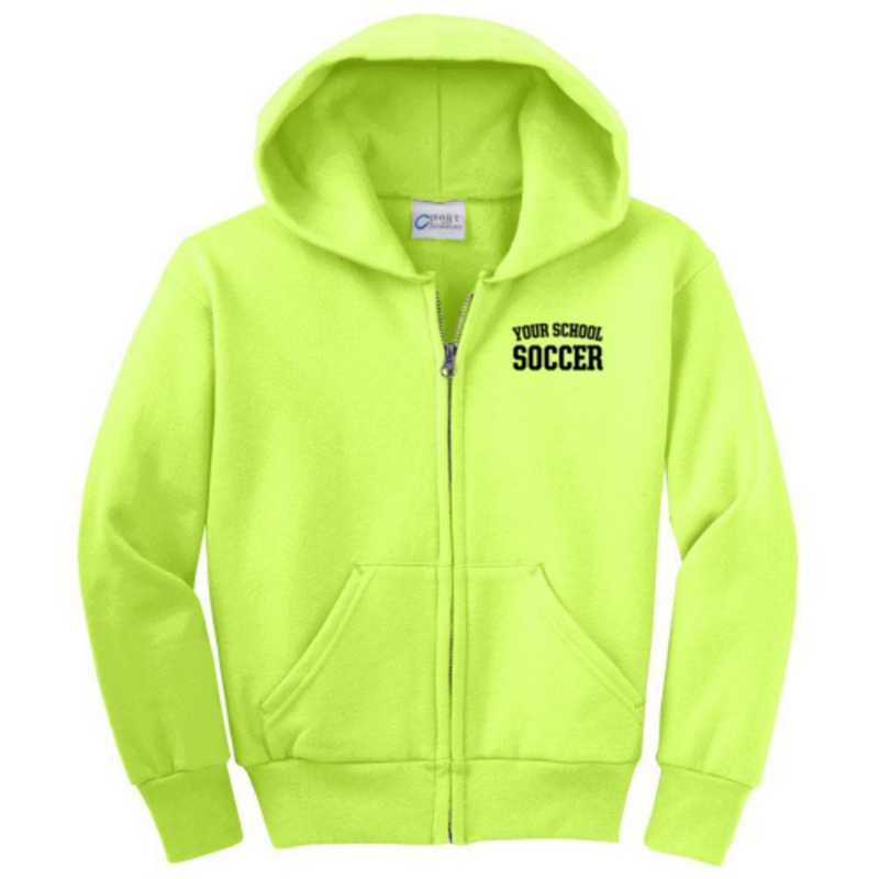 Soccer Embroidered Youth Full Zip Hooded Sweatshirt