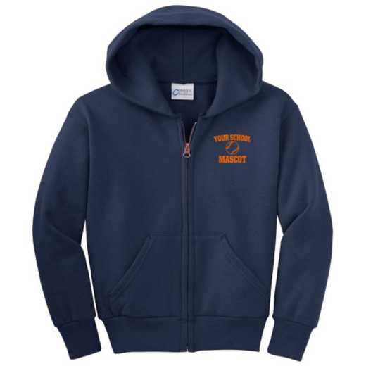 Softball Embroidered Youth Full Zip Hooded Sweatshirt