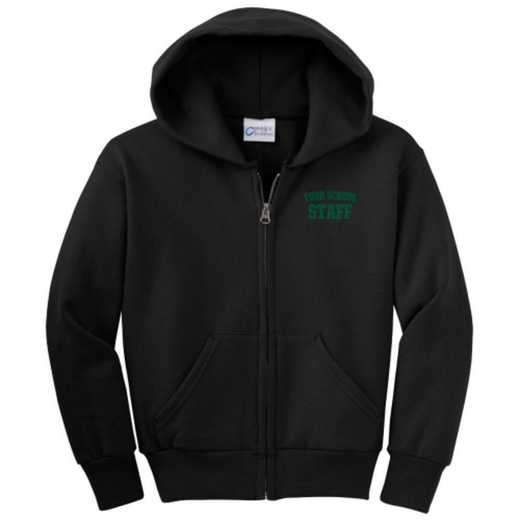Staff Embroidered Youth Full Zip Hooded Sweatshirt