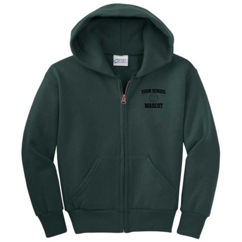 Volleyball  Embroidered Youth Full Zip Hooded Sweatshirt