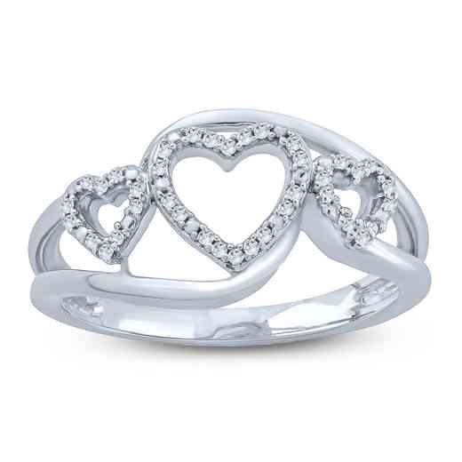 1/10 CT. T.W. Diamond Triple Outline Heart Ring in Sterling Silver