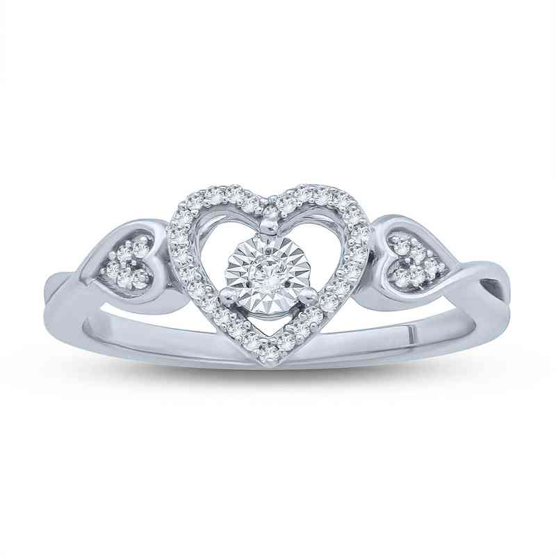 1/10 CT. T.W. Diamond Heart & Miracle Plate Ring in Sterling Silver