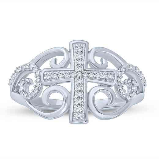 1/10 CT. T.W. Diamond Vintage Swirl Cross Ring in Sterling Silver