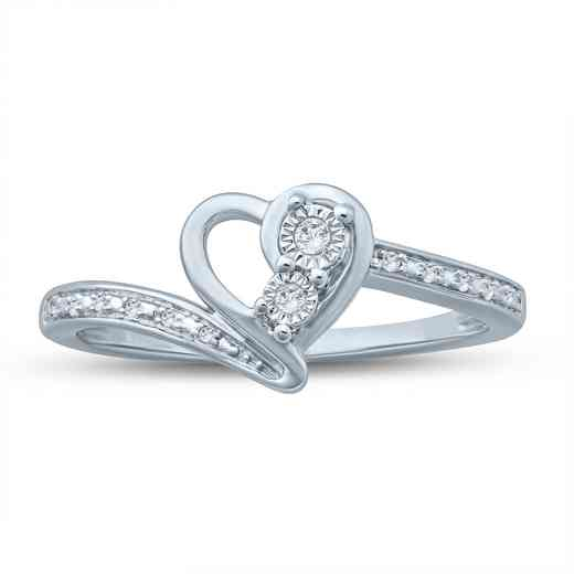 Diamond Accent Heart With Miracle Plate Fashion Ring in Sterling Silver