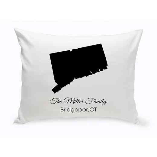 GC1380-CT: Blk PrsnlzedHomeStThrowPillowConnecticut