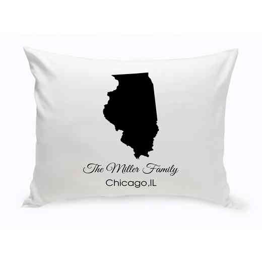 GC1380-IL: Blk Prsnlzed Home St.ThrowPillowIllinois
