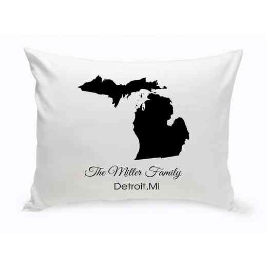GC1380-MI: Blk Prsnlzed Home St.ThrowPillowMichigan