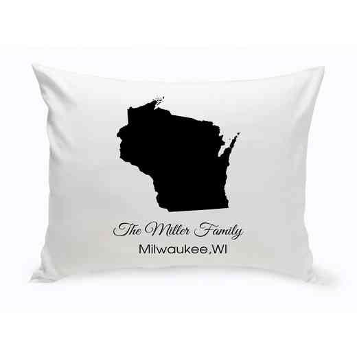 GC1380-WI: Blk Prsnlzed Home StThrowPillowWisconsin