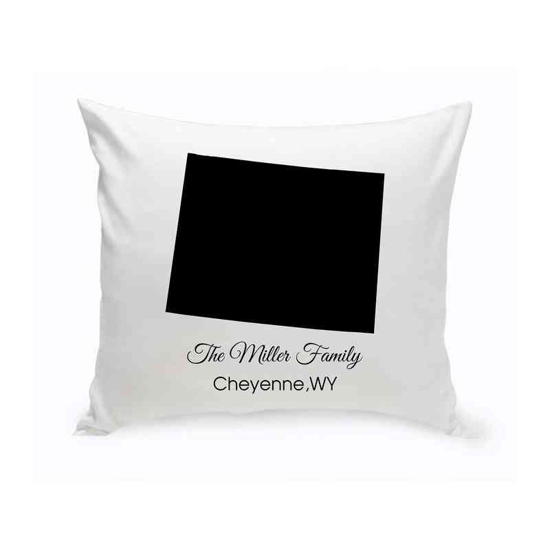 GC1380-WY: Blk Prsnlzed Home St.ThrowPillow Wyoming
