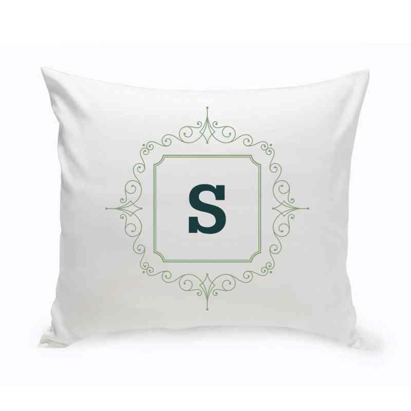Sage Green Initial Script Motif Accent Pillow