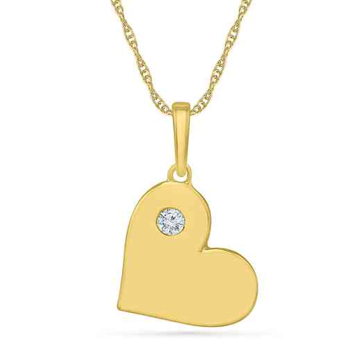 PH203299AAY: 925 YLW GP DIA ACCNT BEZEL HEART PENDANT NECKLACE