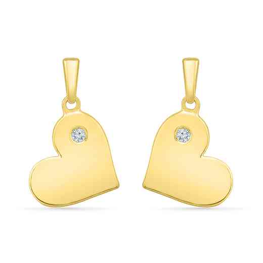 EH203300AAY: 925 YLW GP DIA ACCNT BEZEL HEART EARRINGS