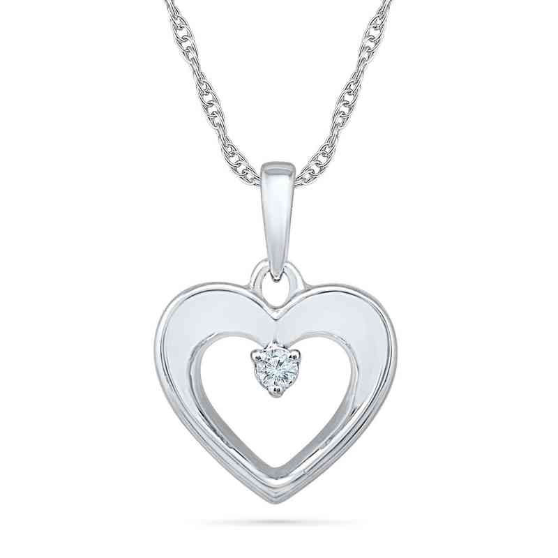 PH203343AAW: 925 DIA ACCNT CUT OUT HEART PENDANT NECKLACE