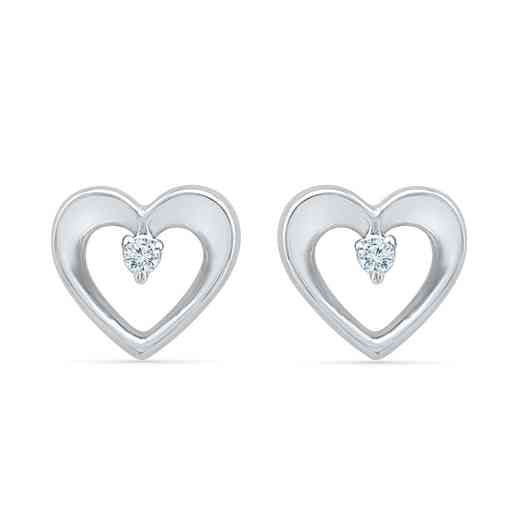 EH203344AAW: 925 DIA ACCNT CUT OUT HEART EARRINGS