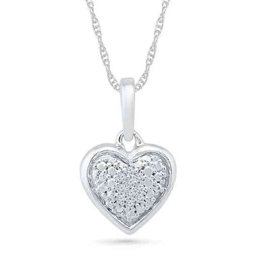 PH203316AAW: 925 DIA ACCNT COMPOSITE HEART PENDANT NECKLACE