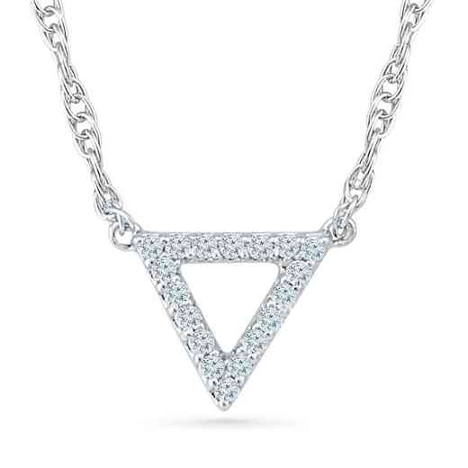 NF200665BAW: 925 1/10CTTW DIA TRIANGLE SHAPE PENDT NECKLACE