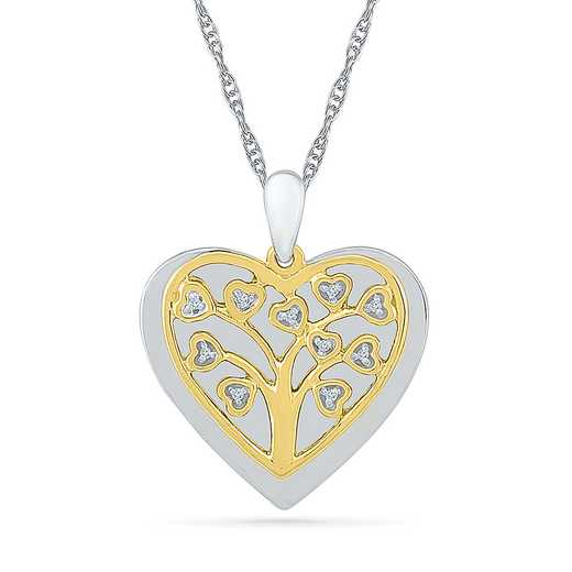 PQ079442AAY: 925 14KYGP DIA ACCNT FAMILY TREE HEART NECKLACE