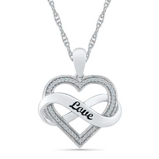 PH078915BAW: 925 1/10CTTW INFINITY LOVE HEART PENDT NECKLACE