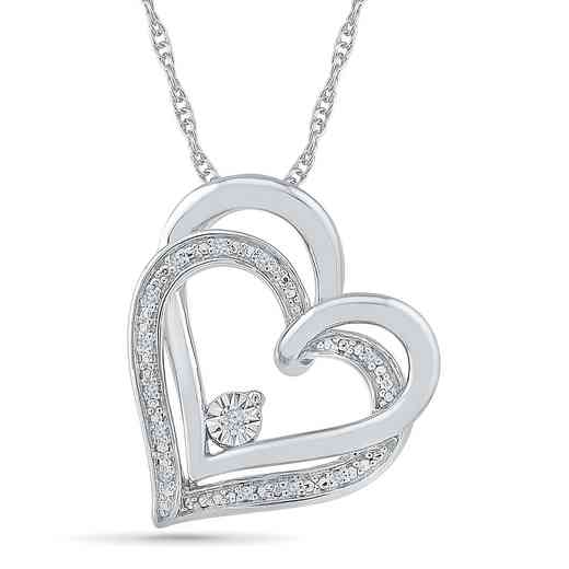 PH080352AAW: 925 DIA ACCNT DOUBLE HEART PENDANT NECKLACE