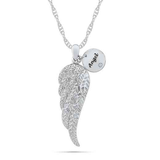 PQ081202AAW: 925 DIA ACCNT DANGLE ANGEL NECKLACE