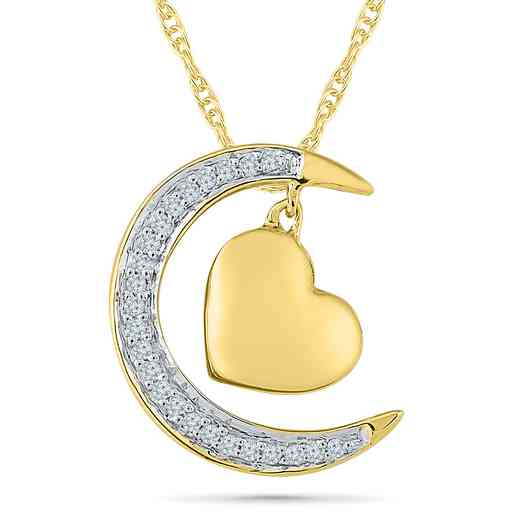 PQ079456BAY: 925/14KYGP DIA ACCNT DANGLE MOON HEART NECKLACE