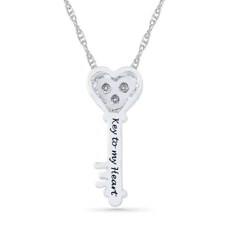 b91ac126afbfe Diamond Accent Key To My Heart Pendant in Sterling Silver and 10K Rose Gold