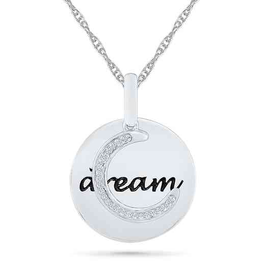 PQ079739BAW: 925 DIA ACCNT DIA MOON DREAM CIRCLE NECKLACE