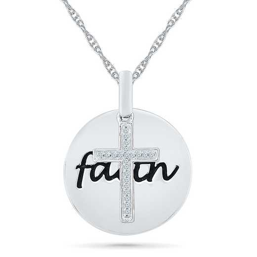 PC079650AAW: 925 DIA ACCNT DIA CROSS FAITH NECKLACE
