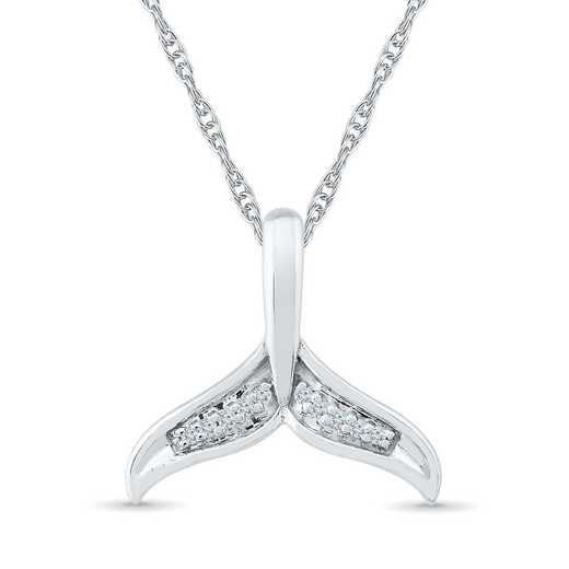 PQ078945AAW: 925 DIA ACCNT DIA LUCK WHALE TAIL FEARLESS NECKLACE