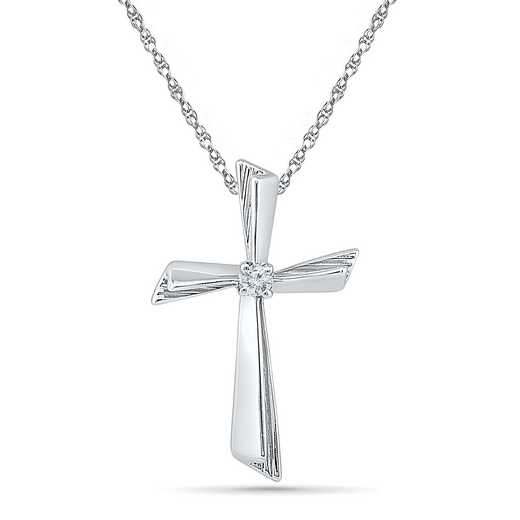 PC008630AAW: 925 DIA ACCNT BEZEL SLANTED EDGE CROSS NECKLACE