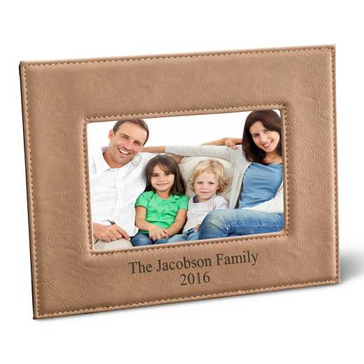 GC1361 LTBROWN: Personalized Leatherette 5x7 Picture Frame