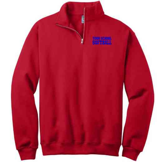 Softball Embroidered Adult Quarter Zip Sweatshirt