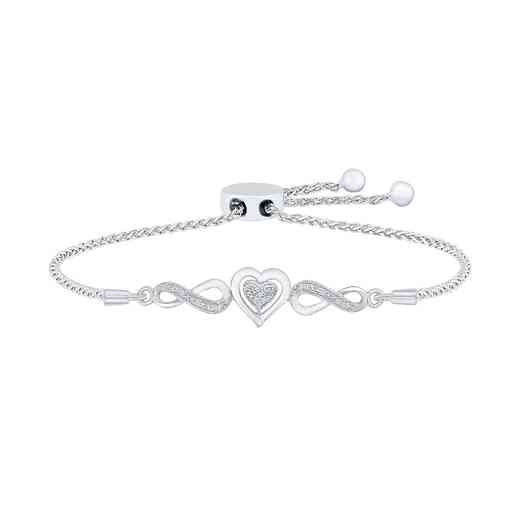 BR080532AAW: 925 DIA ACCNT INFINITY HEART BOLO BRACELET